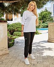 Жіночий спортивний костюм, футболка х/б , штани двунить спів, р-р С-М; Л-ХЛ