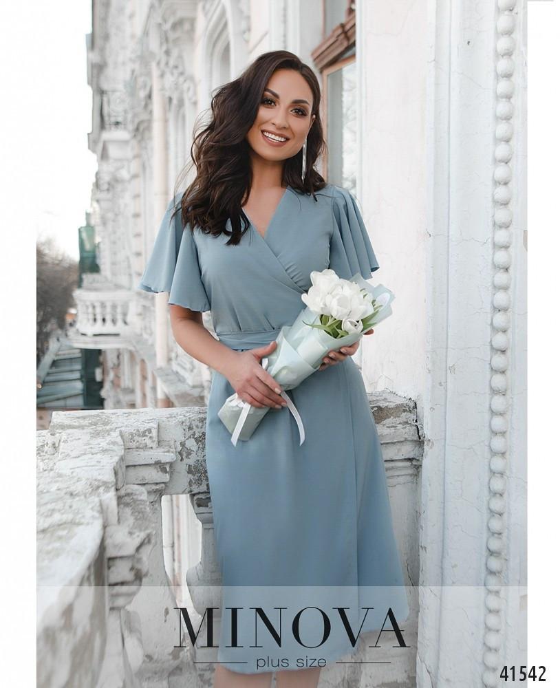 Нежное летнее платье голубого цвета софт в романтическом стиле  больших размеров от 46 до 60