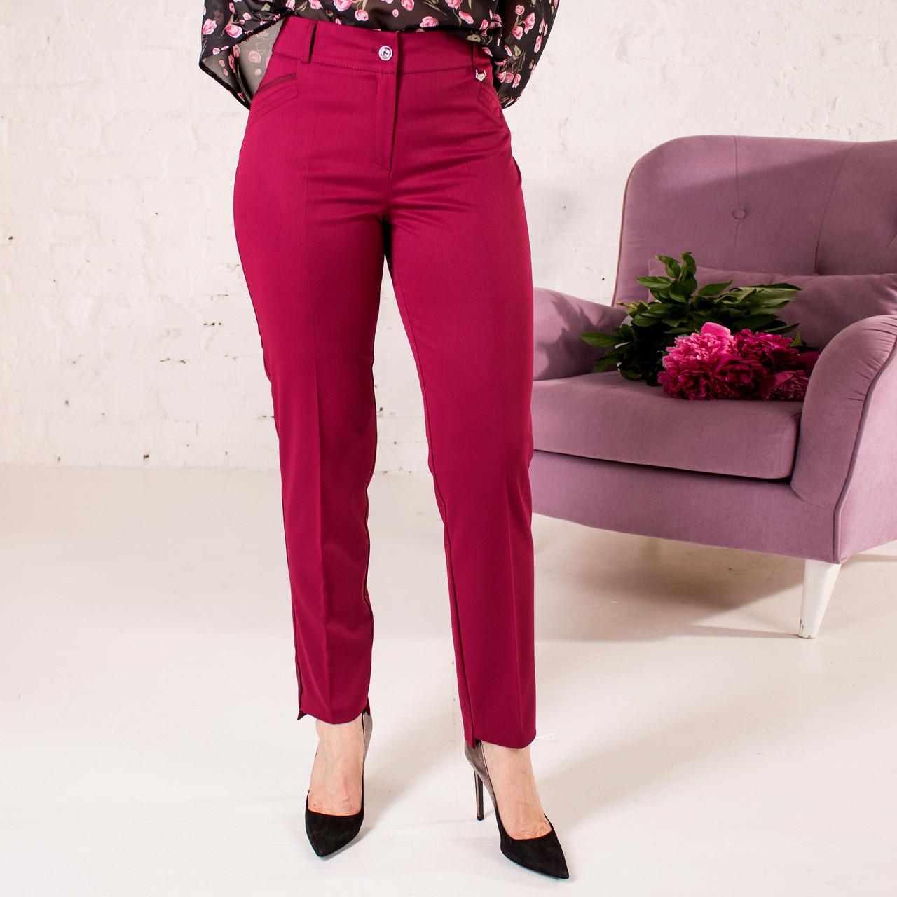 Укорочені брюки бордового кольору