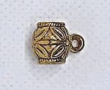 Бейл Бочонок с петлей 11х14 мм Золото античное держатель кулона, фото 3