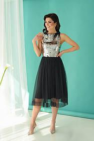 Платье ODIS 362 38 р. Черный с пайетками