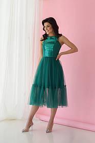Платье ODIS 363 38 р. Зеленый с зеленым пайетками