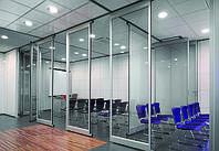 Перегородка звукоизолирующая офисная мобильная раздвижная стеклянная для конференц зала