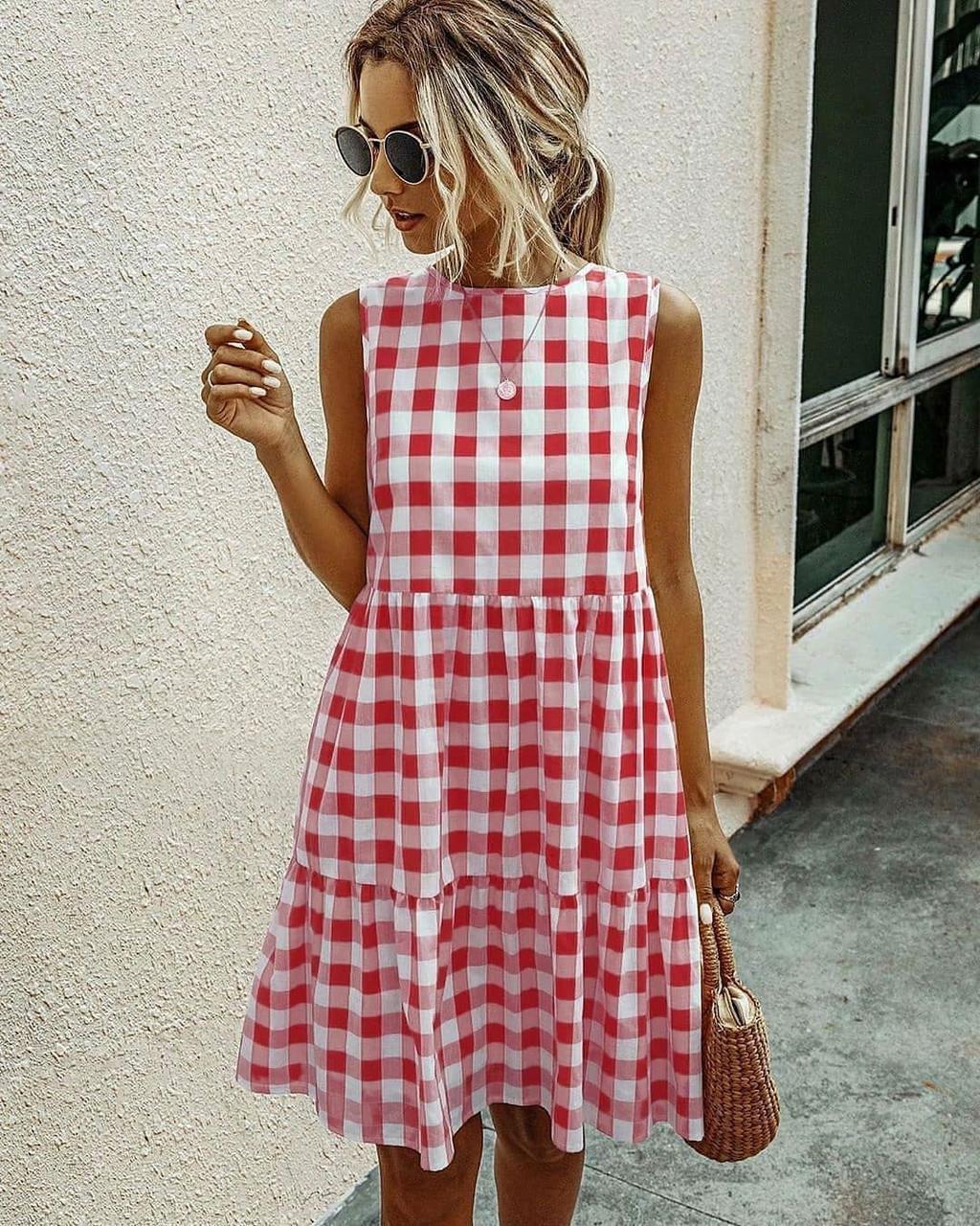 Женское платье, коттон, р-р 42-46; 48-50 (красный)