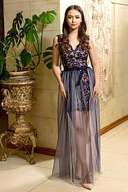 Платье ODIS 525 38 р. Пудровый с синим