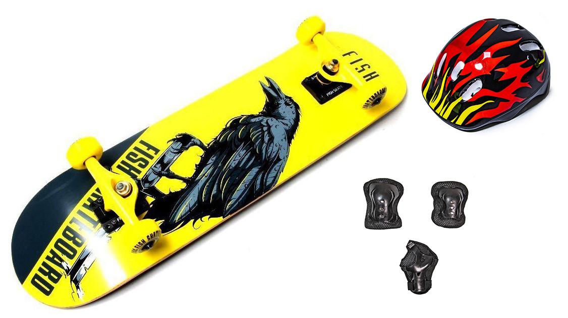 Скейтборд деревянный Scale Sports Fish Crow + Шлем + Защита