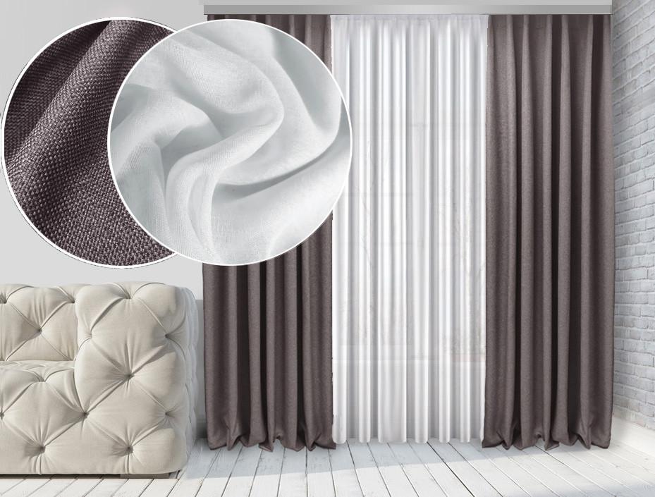 Комплект тюль и шторы Натюрель Лен-Блекаут  2 шт Серо-коричневый Тюль Лен Лайт  Белый