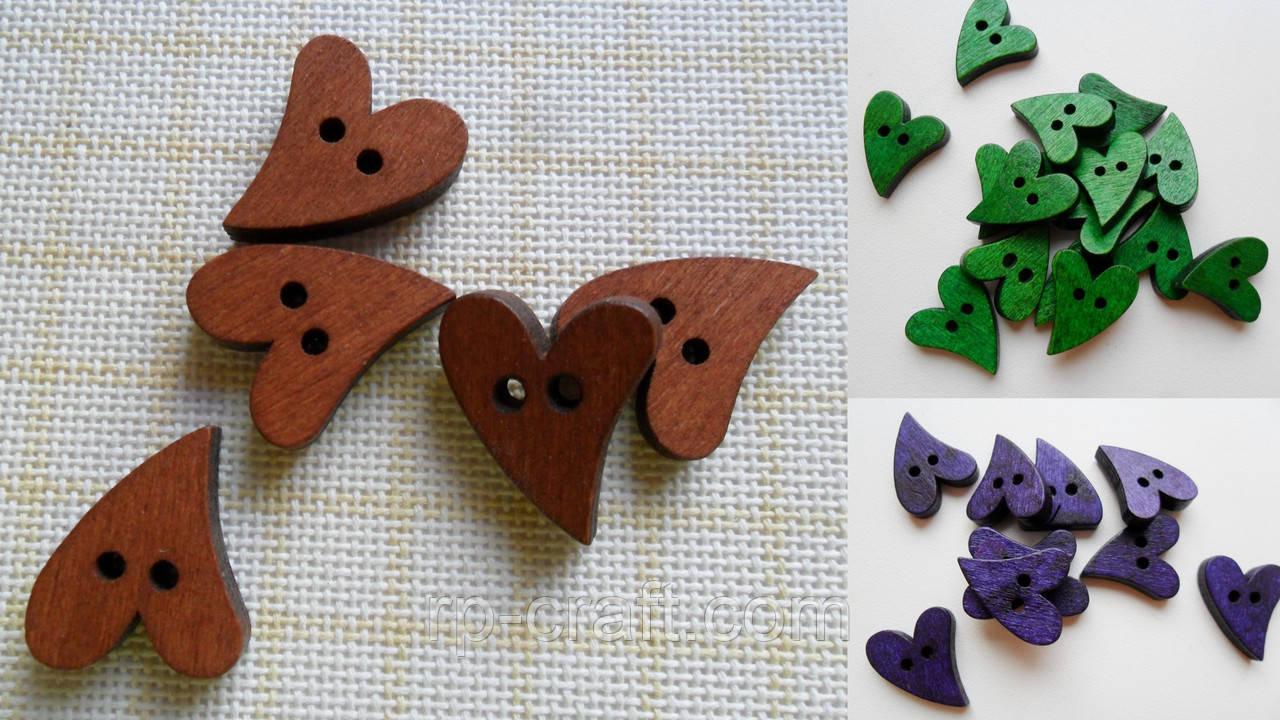 Пуговица деревянная, декоративная. Сердце, 17х21 мм