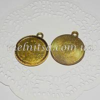 Основа для кулона, круглая, золото, 29х2,5мм,