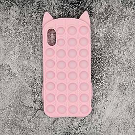 Чохол антистрес Pop It для iPhone X силіконовий, Котик, Рожевий