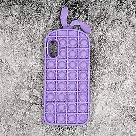 Чохол антистрес Pop It для iPhone X силіконовий, Кролик, Фіолетовий