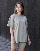 Женская стильная футболка оверсайз длинная оливковая, модные женские футболки oversize однотонные с принтом