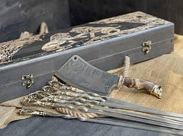 """Набір шампурів ручної роботи """"Морський бриз"""" з секачем, в розписному буковому кейсі"""