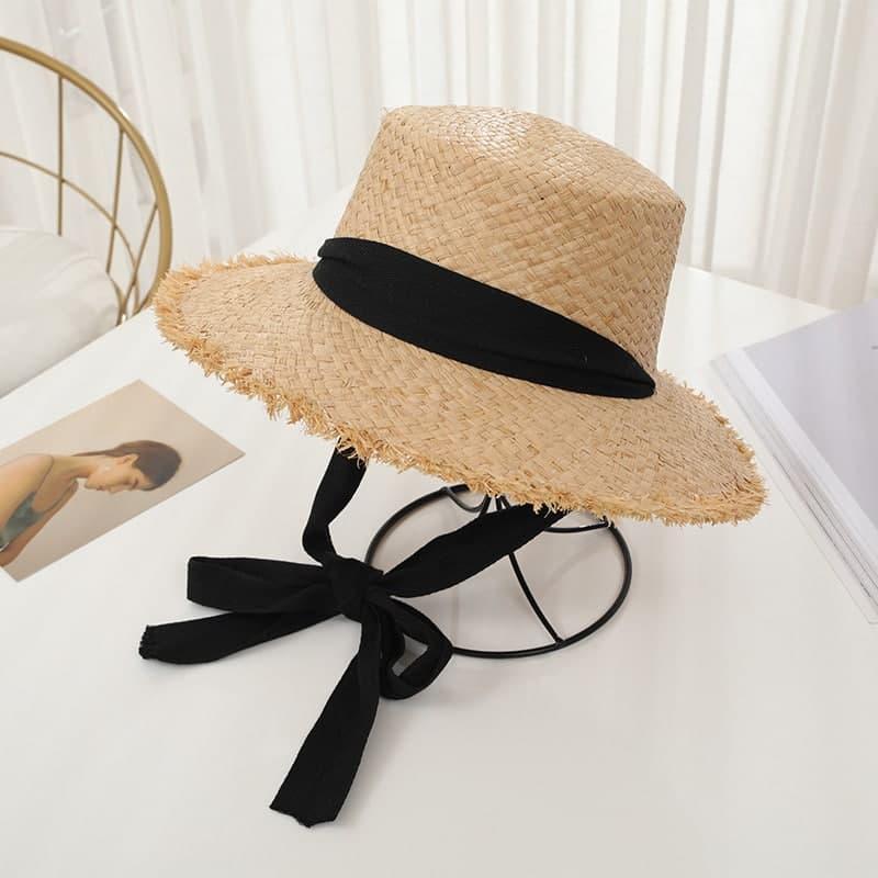 Женская соломенная шляпа на лето с лентой 8307374