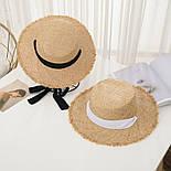 Женская соломенная шляпа на лето с лентой 8307374, фото 6