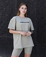 Женская стильная футболка оверсайз длинная оливковая, модные женские футболки oversize с принтом Perspective