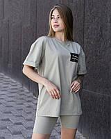 """Женская стильная футболка оверсайз длинная оливковая, модные женские футболки oversize с принтом """"Я девочка"""""""