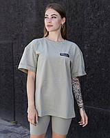 """Женская стильная футболка оверсайз длинная оливковая, модные женские футболки oversize с принтом """"Смотри"""""""