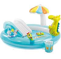 """Детский Надувной бассейн игровой центр с горкой """"Крокодильчик"""""""