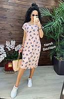 Стильное легкое летнее платье цветами большие размеры батал 48-56р