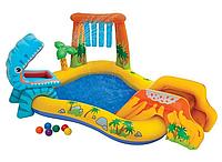 """Надувной бассейн детский с душем-фонтанчиком, горкой и шариками """"Дино-центр"""""""