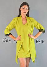 Комплект халат, нічна сорочка однотонна софт 206-202 лайм.