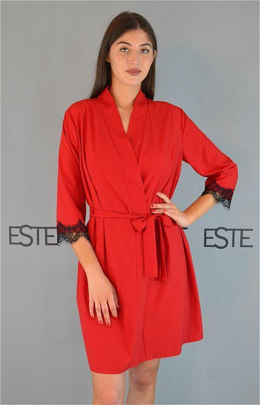Халат женский домашний Este с кружевом красный.