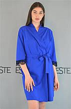 Халат женский домашний Este с кружевом синий.