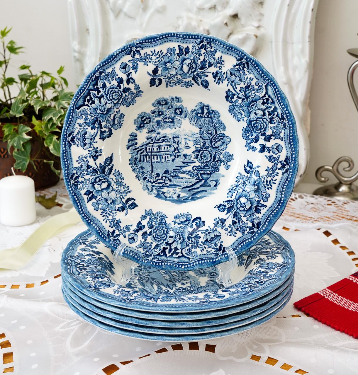 Фарфоровая суповая тарелка, бело синий фарфор, Royal Wessex Churchill, Англия, винтаж