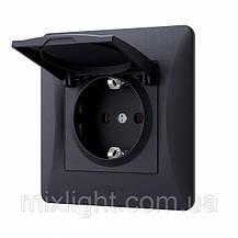 Розетка встроенная одинарная с заземлением и крышкой VIDEX BINERА черный графит VF-BNSK1GC-BG, фото 2