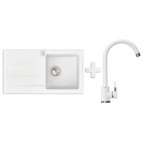 Кухонная мойка VALENTINA Gr Azia белый + Кран