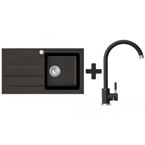 Кухонна мийка VALENTINA Gr Azia чорний + Кран