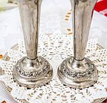 Посеребренные фрог вазочки, парные вазы, серебрение по меди, Англия, винтаж,  Ianthe, Silver Plate, фото 2