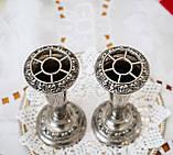Посеребренные фрог вазочки, парные вазы, серебрение по меди, Англия, винтаж,  Ianthe, Silver Plate, фото 3