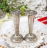 Посеребренные фрог вазочки, парные вазы, серебрение по меди, Англия, винтаж,  Ianthe, Silver Plate, фото 4