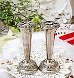 Посеребренные фрог вазочки, парные вазы, серебрение по меди, Англия, винтаж,  Ianthe, Silver Plate, фото 5