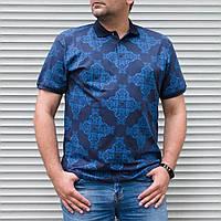 Синее поло мужское большого размера с орнаментом   Турция   БАТАЛ   хлопок + полиэстер, фото 1