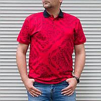 Червоне поло чоловіча великого розміру з орнаментом | Туреччина | БАТАЛ | бавовна + поліестер, фото 1