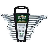Ключи рожково-накидные 12шт (6-14, 17, 19, 22мм) CrV GRAD ()