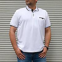 Біла однотонна чоловіча поло великого розміру   БАТАЛ   Туреччина   100% бавовна, фото 1