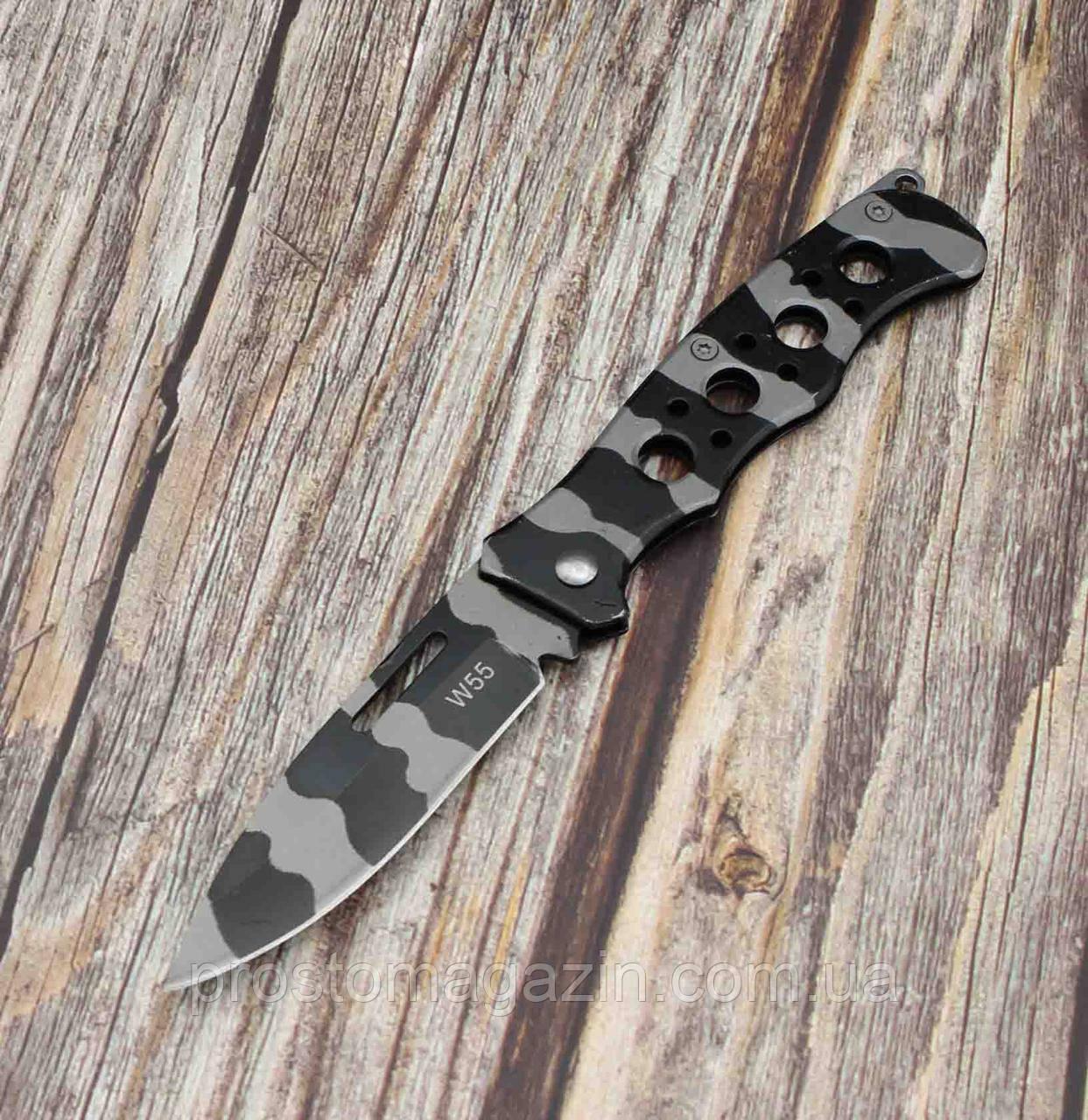 Ніж складаний - сіро-чорний камуфляж, тонкий і зручний