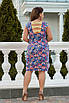 Цветочное летнее женское платье ниже колен с вырезом на спине большие размеры, красивая батальная одежда, фото 9