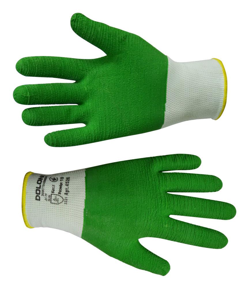 Рукавички робочі Doloni з латексним покриттям зелені L (16-195)