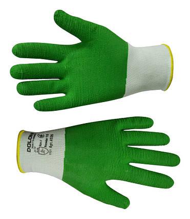 Рукавички робочі Doloni з латексним покриттям зелені L (16-195), фото 2