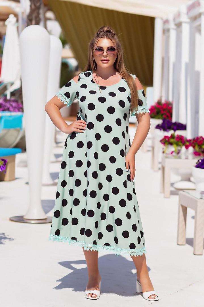 Платье софт в горошек с кружевом (Батал)