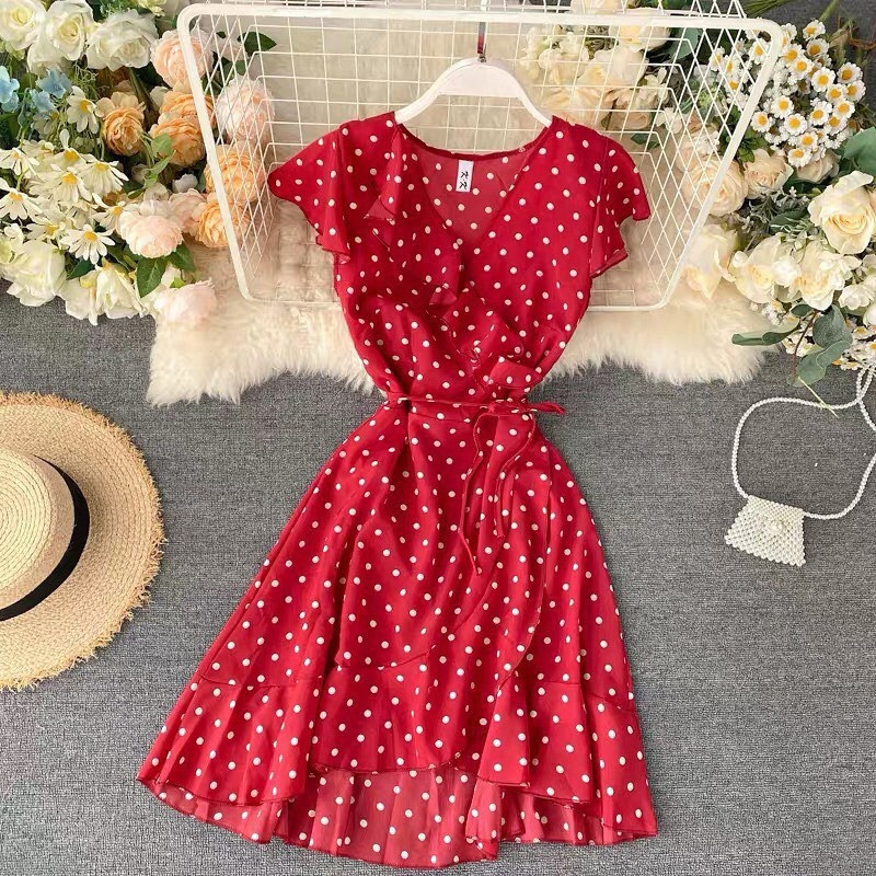 Женское платье софт горох
