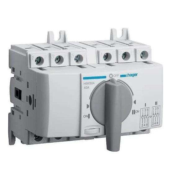 Выключатель напряжения (рубильник) поворотный Hager HIM404 I-0-II 40А 400/690В 4P 7м