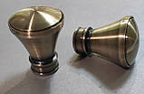 Карниз для штор металевий ЛЮКСОР подвійний 19+19 мм 2.4м Античне золото, фото 2