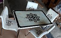 """Раскладной стол обеденный кухонный комплект стол и стулья 3D 3д """"Узор"""" ДСП стекло 70*110 Mobilgen, фото 1"""