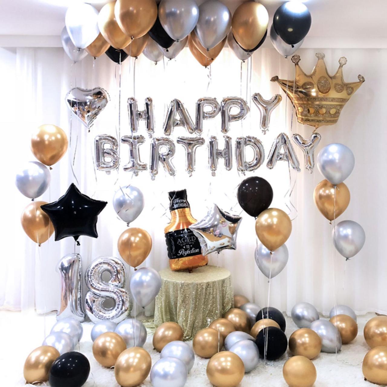 Набор шаров для фотозоны на день рождения для мужчины золото-серебро 1991